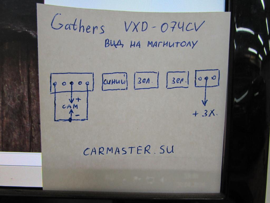 Распиновка для подключения камеры на Gathers VXD-074CV